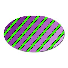 Purple And Green Lines Oval Magnet by Valentinaart
