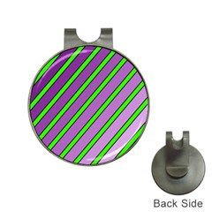 Purple And Green Lines Hat Clips With Golf Markers by Valentinaart