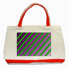 Purple And Green Lines Classic Tote Bag (red) by Valentinaart