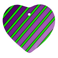 Purple And Green Lines Heart Ornament (2 Sides) by Valentinaart
