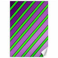Purple And Green Lines Canvas 12  X 18   by Valentinaart