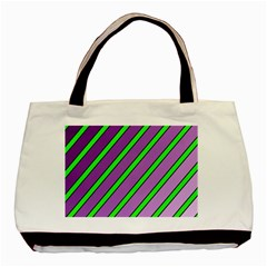 Purple And Green Lines Basic Tote Bag (two Sides) by Valentinaart