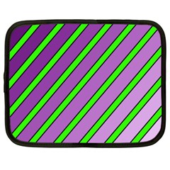 Purple And Green Lines Netbook Case (xxl)  by Valentinaart