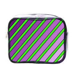 Purple And Green Lines Mini Toiletries Bags by Valentinaart
