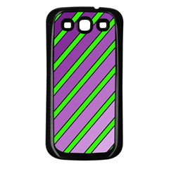 Purple And Green Lines Samsung Galaxy S3 Back Case (black) by Valentinaart
