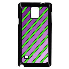 Purple and green lines Samsung Galaxy Note 4 Case (Black) by Valentinaart