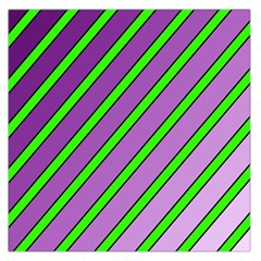 Purple And Green Lines Large Satin Scarf (square) by Valentinaart