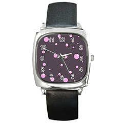 Pink Bubbles Square Metal Watch by Valentinaart