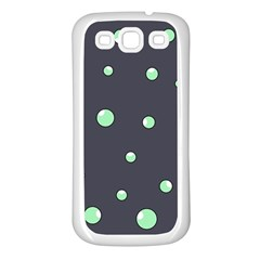 Green Bubbles Samsung Galaxy S3 Back Case (white) by Valentinaart