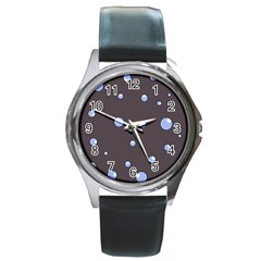 Blue Bubbles Round Metal Watch by Valentinaart