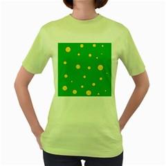 Yellow Bubbles Women s Green T Shirt by Valentinaart