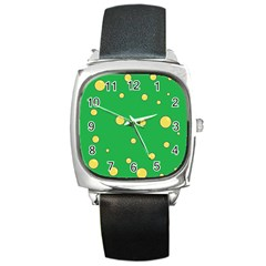 Yellow Bubbles Square Metal Watch by Valentinaart