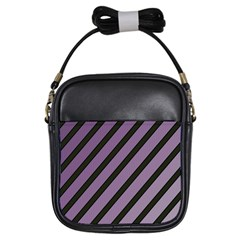 Purple Elegant Lines Girls Sling Bags by Valentinaart