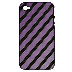 Purple Elegant Lines Apple Iphone 4/4s Hardshell Case (pc+silicone) by Valentinaart