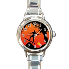 Man Surfing At Sunset Graphic Illustration Round Italian Charm Watch by dflcprints