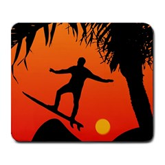 Man Surfing At Sunset Graphic Illustration Large Mousepads by dflcprints
