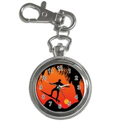 Man Surfing At Sunset Graphic Illustration Key Chain Watches by dflcprints