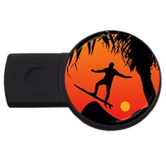 Man Surfing At Sunset Graphic Illustration Usb Flash Drive Round (2 Gb)  by dflcprints