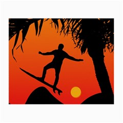 Man Surfing At Sunset Graphic Illustration Small Glasses Cloth by dflcprints