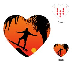 Man Surfing At Sunset Graphic Illustration Playing Cards (heart)  by dflcprints
