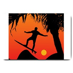 Man Surfing At Sunset Graphic Illustration Large Doormat  by dflcprints