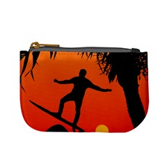 Man Surfing At Sunset Graphic Illustration Mini Coin Purses by dflcprints