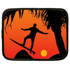 Man Surfing At Sunset Graphic Illustration Netbook Case (xl)  by dflcprints