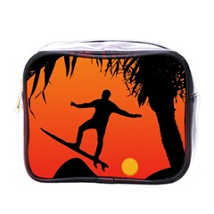 Man Surfing At Sunset Graphic Illustration Mini Toiletries Bags by dflcprints