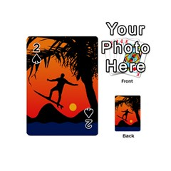 Man Surfing at Sunset Graphic Illustration Playing Cards 54 (Mini)  by dflcprints
