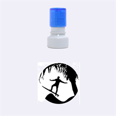 Man Surfing At Sunset Graphic Illustration Rubber Round Stamps (small) by dflcprints