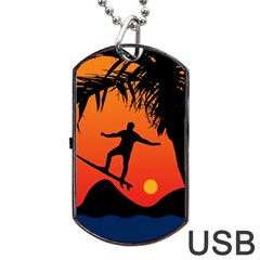 Man Surfing At Sunset Graphic Illustration Dog Tag Usb Flash (one Side) by dflcprints
