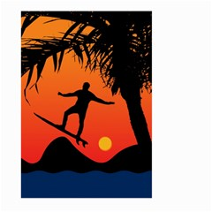 Man Surfing At Sunset Graphic Illustration Large Garden Flag (two Sides) by dflcprints
