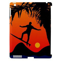 Man Surfing At Sunset Graphic Illustration Apple Ipad 3/4 Hardshell Case (compatible With Smart Cover) by dflcprints