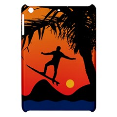 Man Surfing At Sunset Graphic Illustration Apple Ipad Mini Hardshell Case by dflcprints