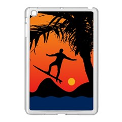 Man Surfing At Sunset Graphic Illustration Apple Ipad Mini Case (white) by dflcprints