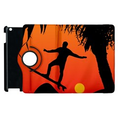 Man Surfing At Sunset Graphic Illustration Apple Ipad 2 Flip 360 Case by dflcprints