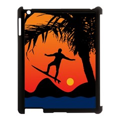 Man Surfing At Sunset Graphic Illustration Apple Ipad 3/4 Case (black) by dflcprints
