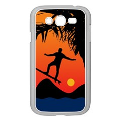 Man Surfing At Sunset Graphic Illustration Samsung Galaxy Grand Duos I9082 Case (white) by dflcprints