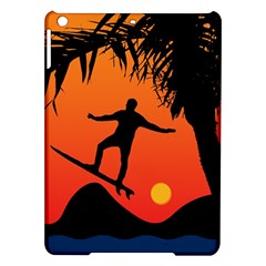 Man Surfing At Sunset Graphic Illustration Ipad Air Hardshell Cases by dflcprints