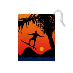 Man Surfing At Sunset Graphic Illustration Drawstring Pouches (medium)  by dflcprints