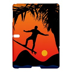 Man Surfing at Sunset Graphic Illustration Samsung Galaxy Tab S (10.5 ) Hardshell Case  by dflcprints