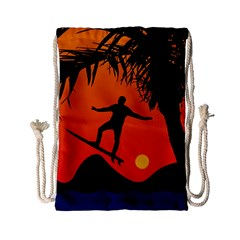 Man Surfing At Sunset Graphic Illustration Drawstring Bag (small) by dflcprints