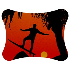 Man Surfing At Sunset Graphic Illustration Jigsaw Puzzle Photo Stand (bow) by dflcprints
