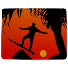 Man Surfing At Sunset Graphic Illustration Jigsaw Puzzle Photo Stand (rectangular) by dflcprints