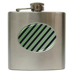 Green Elegant Lines Hip Flask (6 Oz) by Valentinaart