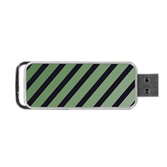 Green Elegant Lines Portable Usb Flash (two Sides) by Valentinaart