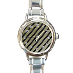 Decorative Elegant Lines Round Italian Charm Watch by Valentinaart