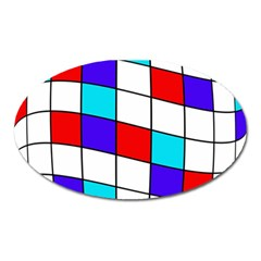 Colorful Cubes  Oval Magnet by Valentinaart