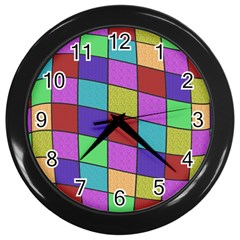 Colorful Cubes  Wall Clocks (black) by Valentinaart