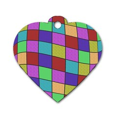 Colorful cubes  Dog Tag Heart (One Side) by Valentinaart